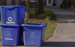 recycling bins on street